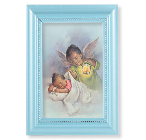 "Guardian Angel Pearlized Blue Framed Art | 4"" x 6"""