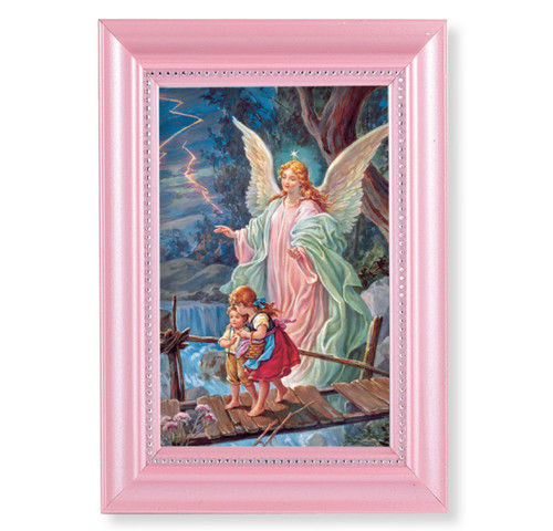 """Guardian Angel Pearlized Pink Framed Art 