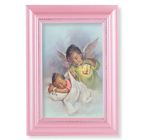 "Guardian Angel Pearlized Pink Framed Art | 4"" x 6"""