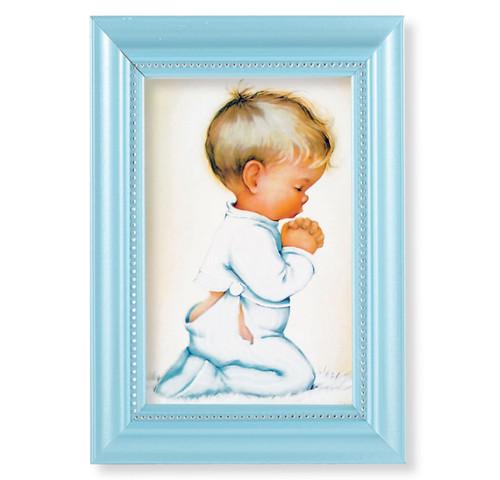 """Praying Boy Pearlized Blue Framed Art   4"""" x 6"""""""
