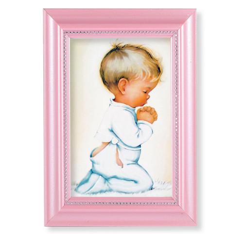 "Praying Boy Pearlized Pink Framed Art   4"" x 6"""