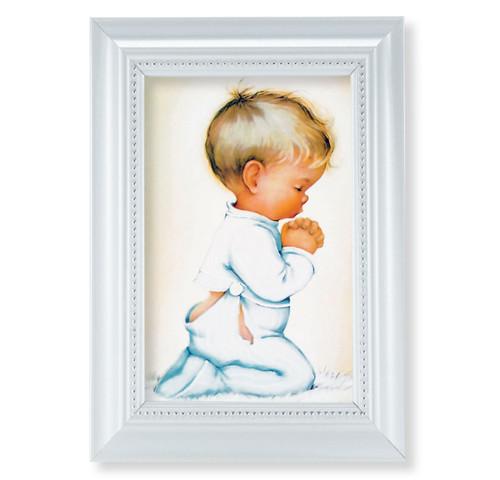 "Praying Boy Pearlized White Framed Art   4"" x 6"""