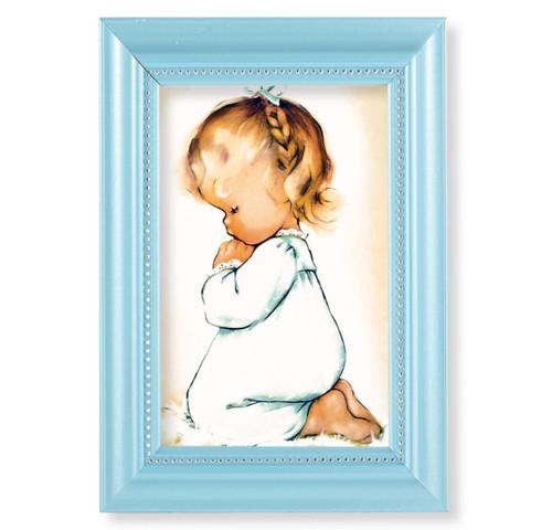 """Praying Girl Pearlized Blue Framed Art   4"""" x 6"""""""