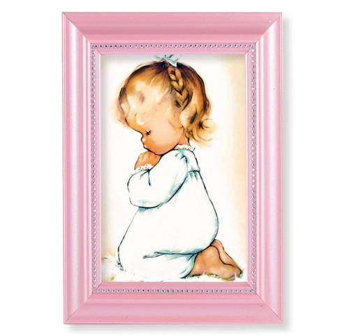 "Praying Girl Pearlized Pink Framed Art   4"" x 6"""