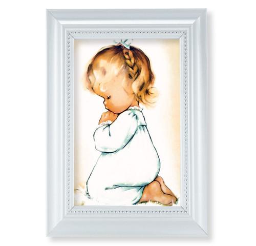 """Praying Girl Pearlized White Framed Art   4"""" x 6"""""""