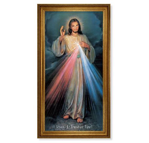 "Divine Mercy Antique Gold Framed Art | 20"" x 40"""