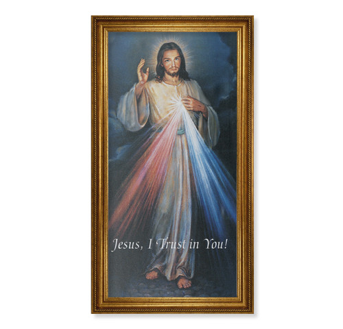 "Divine Mercy Antique Gold Framed Canvas Art | 20"" x 40"""