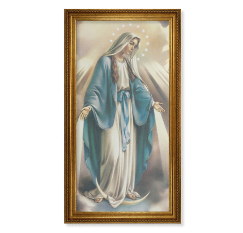 "Our Lady of Grace Antique Gold Framed Canvas Art | 20"" x 40"""