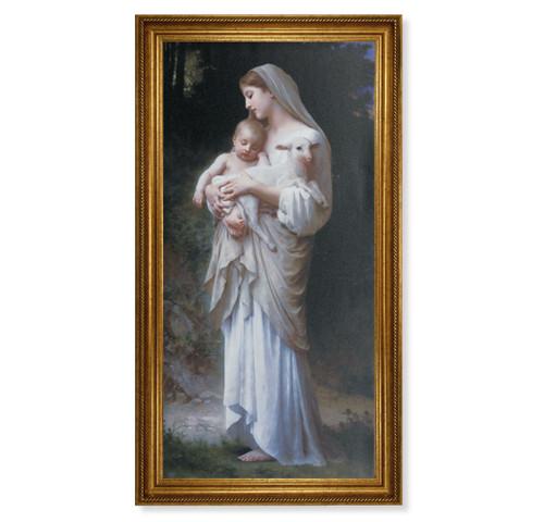 "Divine Innocence Antique Gold Framed Art | 20"" x 40"""