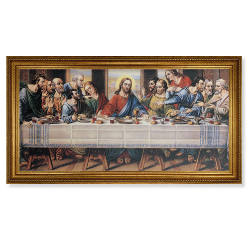 "Last Supper (Zabateri) Antique Gold Framed Canvas Art | 20"" x 40"""
