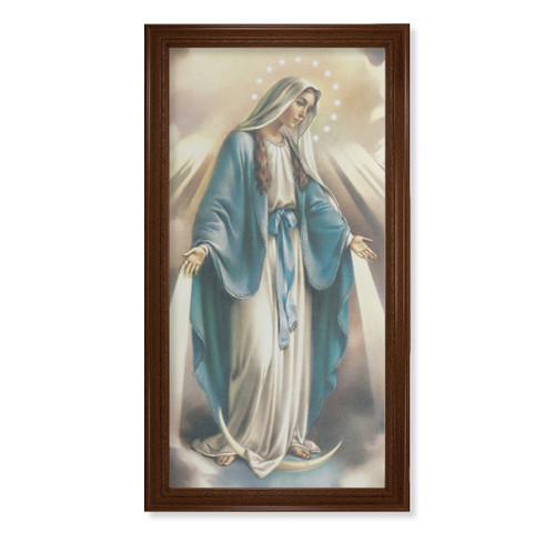 """Our Lady of Grace Walnut Finish Framed Canvas Art   20"""" x 40"""""""