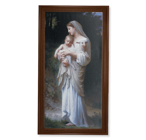 "Divine Innocence Walnut Finish Framed Canvas Art | 20"" x 40"""