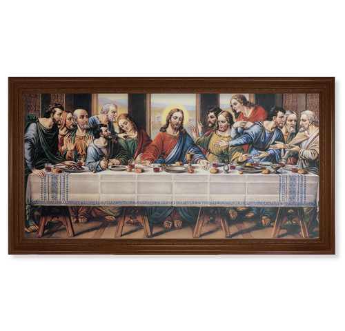 "Last Supper (Zabateri) Walnut Finish Framed Canvas Art | 20"" x 40"""