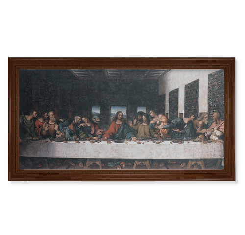 "Last Supper (DaVinci) Walnut Finish Framed Canvas Art | 20"" x 40"""