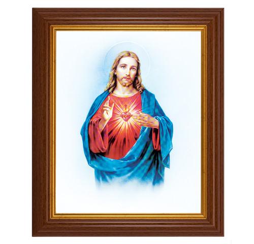 "Sacred Heart of Jesus Dark Walnut Framed Art   8"" x 10"""