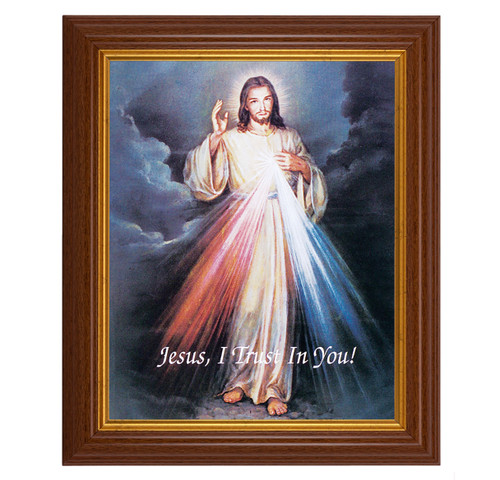"Divine Mercy Dark Walnut Framed Art   8"" x 10"""