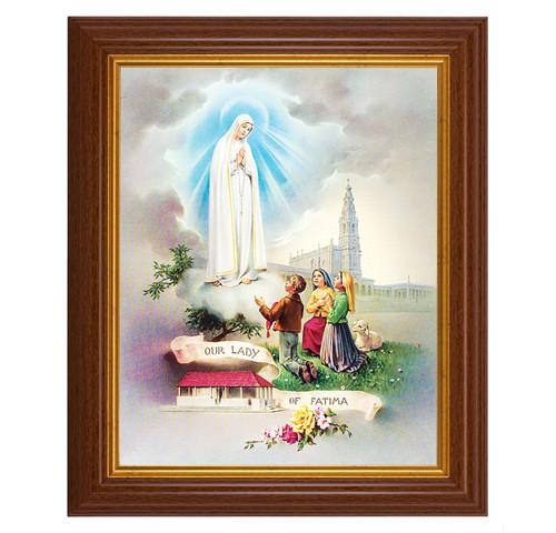 "Our Lady of Fatima Dark Walnut Framed Art   8"" x 10"""