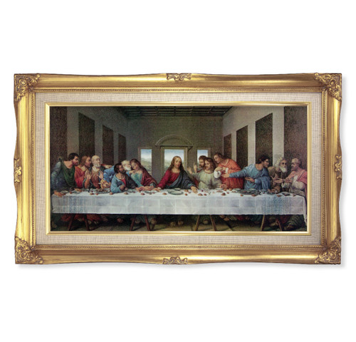 "Last Supper (DaVinci) Deluxe Gold Framed Art | 11"" x 18"""