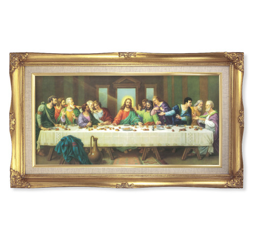 """Last Supper (Zabateri) Deluxe Gold Framed Art   14"""" x 24"""""""