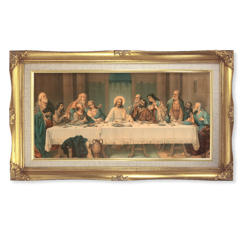 "Last Supper (Parietti) Deluxe Gold Framed Art | 14"" x 24"""