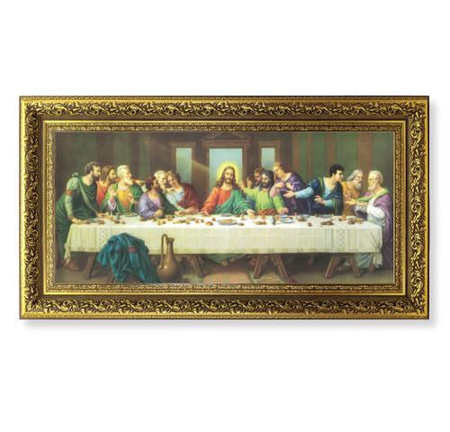 "Last Supper (Zabateri) Gold-Leaf Wood Framed Art | 14"" x 26"""