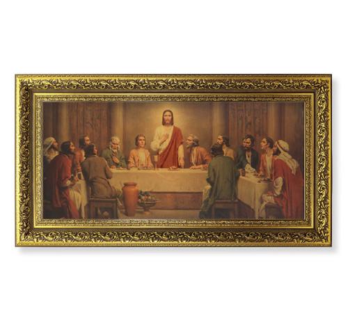 "Last Supper (Chambers) Gold-Leaf Wood Framed Art | 14"" x 26"""
