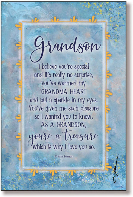 "6"" x 9"" Grandson from Grandma Plaque"