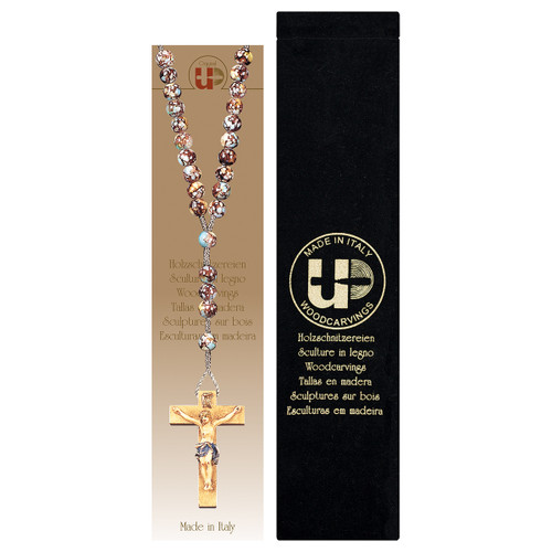 Marbled Brown Wood Bead Rosary with Velvet Case | Hand Carved In Italy