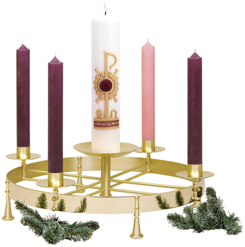 K604 Brass Table Top Advent Wreath | Two-Tone Brass