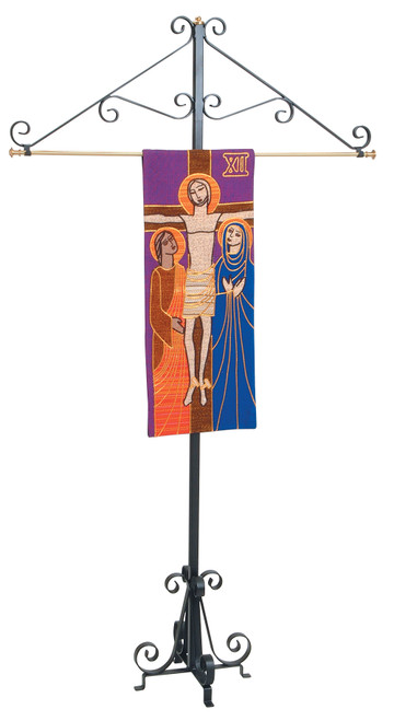K4045 Black Banner Stand | Wrought Iron