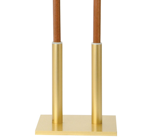 K227 Square Double Candle Lighter Stand | Satin Brass