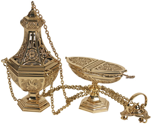 K907 Ornate Four Chain Censer and Boat   Thurible   Polished Brass