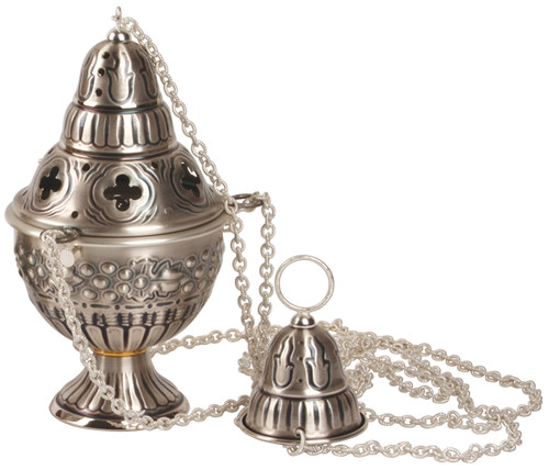 K911 Ornate Four Chain Censer and Boat   Thurible   Oxidized Silver