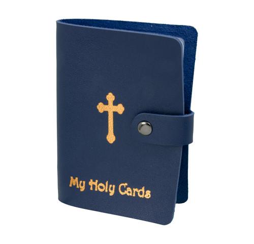 Blue Leatherette Prayer Card Holder | Holds up to 24 Cards