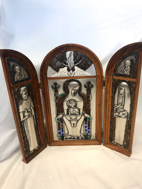 Large Custom Silver & Oak Triptych