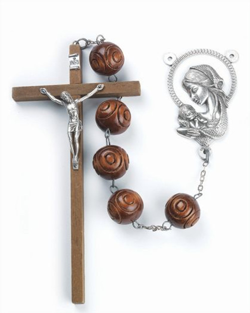 Brown Carved Wood Bead Wall Rosary | Marian Centerpiece