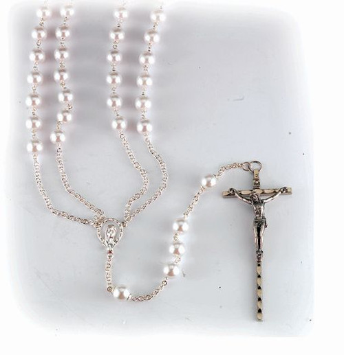 Silver-Plated Pearl Lasso Wedding Rosary