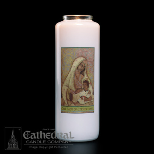 Our Lady of Czestochowa 6-Day Glass Candles   Case of 12