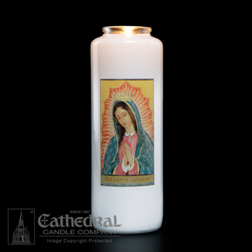 Our Lady of Guadalupe 6-Day Glass Candles   Case of 12