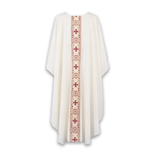 #850 Gold Metallic Banded Chasuble   Plain Collar   Polyester   All Colors