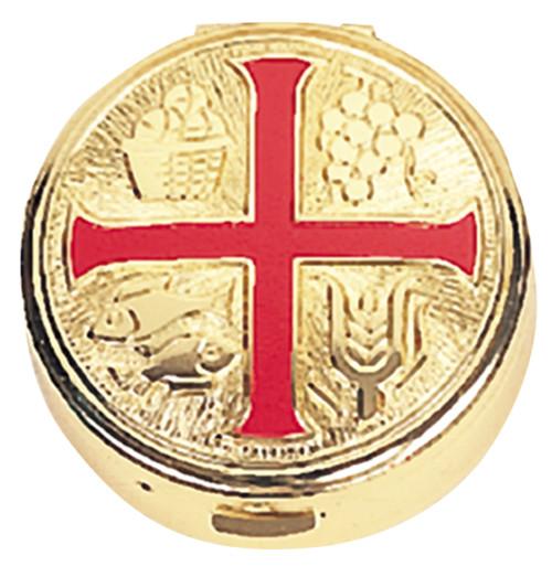 K125 Red Enameled Cross Pyx | Holds 25 Hosts
