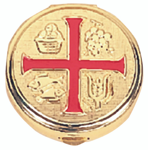 K110 Red Enameled Cross Pyx | Holds 10 Hosts
