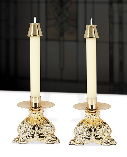 """6-1/2"""" Ornamented Resin Candlestick"""