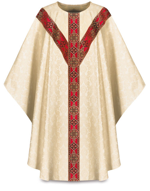 #3035 Woven Galoon Chasuble  | Plain Collar | Viscose Damask | All Colors