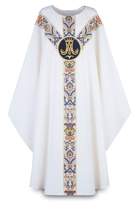 #3361 Hand-Embroidered Marian Emblem Chasuble | Plain Collar | Poly/Viscose