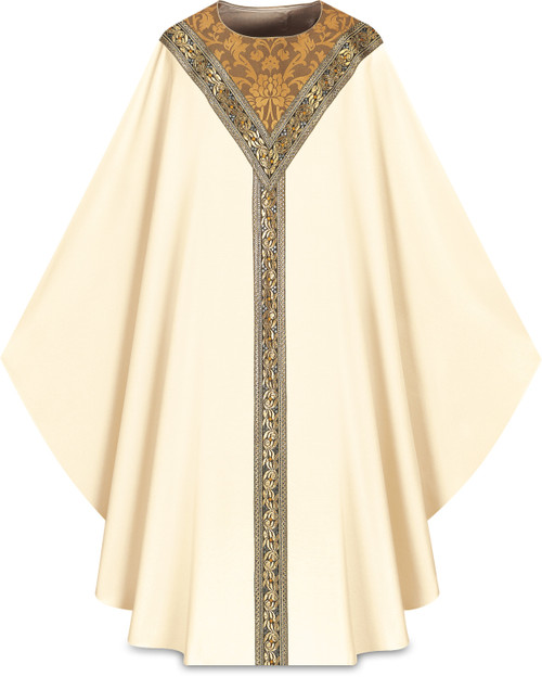#3219 Gold Embroidered Chasuble | Plain Collar | 100% Wool | All Colors