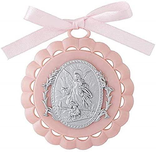 "3.5"" Guardian Angel Crib Medallion | Gift Boxed | Pink"