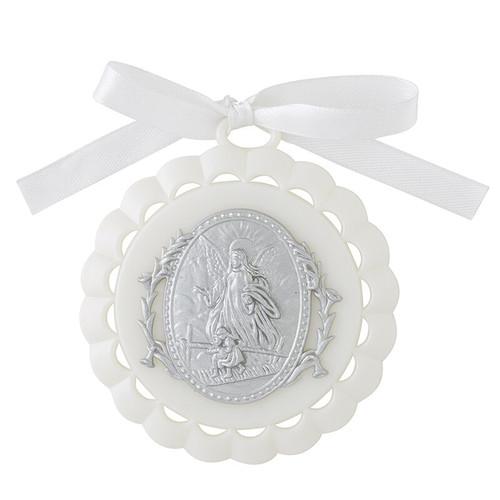 "3.5"" Guardian Angel Crib Medallion | Gift Boxed | White"