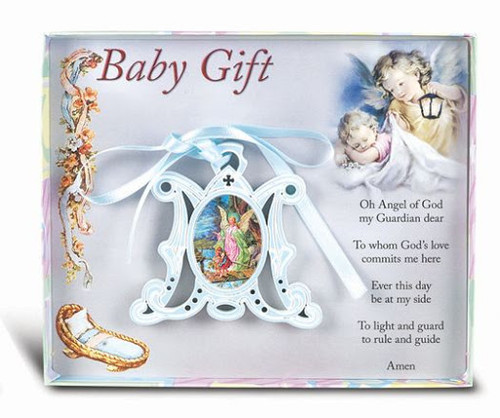 Wooden Marian Guardian Angel Crib Medallion | Gift Boxed | Blue