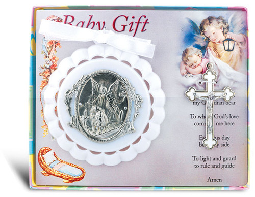 """3.5"""" Guardian Angel Crib Medallion with Crucifix 